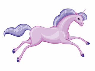 Vector image of a beautiful fantastic unicorn. Colorful illustration on a white background.