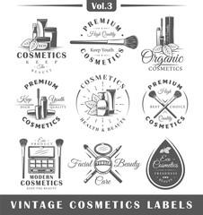 Set of vintage cosmetics labels, logos
