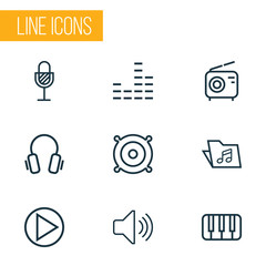 Multimedia Outline Icons Set. Collection Of Equalizer, Earphones, Audio Level And Other Elements. Also Includes Symbols Such As Music, Fortepiano, Headphone.