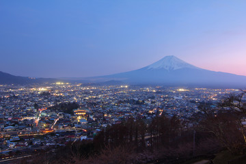 Beautiful scenery during twilight time of Arakurayama Sengen Park Mountain Fuji view point at Fujiyoshida in Japan.This is a very popular for photographers and tourists. Travel and Attraction Concept.