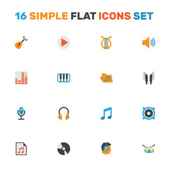 Multimedia Flat Icons Set. Collection Of Pianoforte, Loudspeaker, Karaoke And Other Elements. Also Includes Symbols Such As Guitar, Music, Microphone.