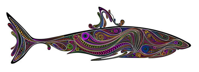 Silhouette sharks vector of color patterns