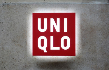 Logo outside the casual clothing store Uniqlo operated by Japan's Fast Retailing in Paris, France