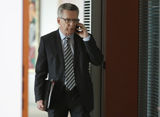 German Interior Minister De Maiziere arrives for cabinet meeting in Berlin