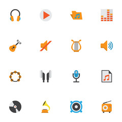 Multimedia Flat Icons Set. Collection Of Quiet, Rhythm, Audio And Other Elements. Also Includes Symbols Such As Earmuff, Karaoke, Music.