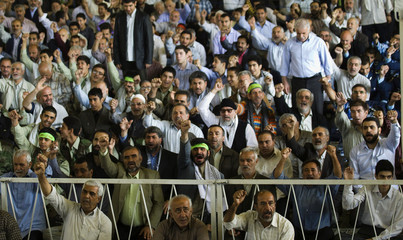 Worshippers shout slogans during Friday prayers in Tehran