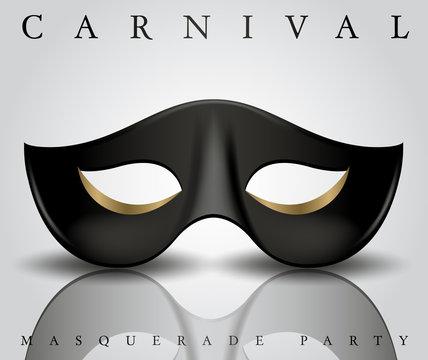 Black Carnival Mask On White Background : Vector Illustration