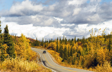 Truck Travels Road Alaska Wilderness Fall Color Two Lane Highway