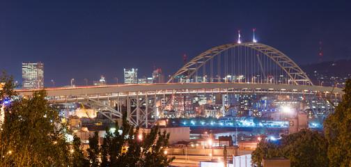 Freemont Bridge Night Lights Portland Oregon Downtown City Skyline
