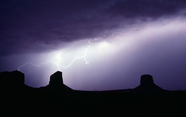 Thunderstorm Lightning Strikes Tall Buttes Monument Valley Utah