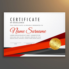 clean modern certificate of excellence design with red ribbon strip