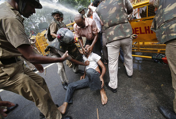 Police detain a pro-Telangana and India's main opposition Bharatiya Janata Party (BJP) supporter during a protest in New Delhi