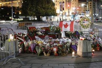 The memorial for Cpl. Nathan Cirillo is seen near the National War Memorial in downtown Ottawa
