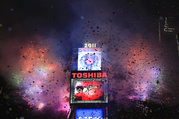 Fireworks explode during New Year celebrations in Times Square in New York