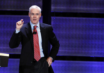 Business author, Jim Collins, speaks during the World Business Forum in New York