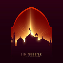 festival greeting for muslim eid mubarak with mosque and rays background
