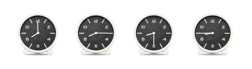 Closeup group of black and white clock with shadow for decorate show the time in 8 , 8:15 , 8:30 , 8:45 a.m. isolated on white background , beautiful 4 clock picture in different time