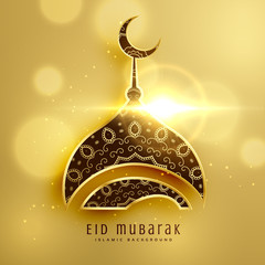 beautiful mosque design for islamic eid festival with golden decoration