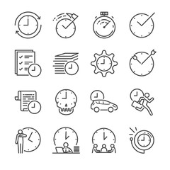 Time Management vector line icon set.  Included the icons as clock, time, reminder, velocity and more.