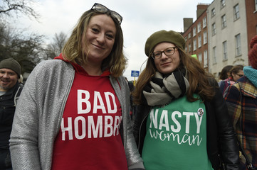 Protesters take part in the Women's March on Dublin