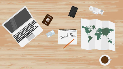 Top view many object on table such as ,laptop ,passport ,credit card notebook, pencil, map, coffee ,cup and camera. Flat icon object illustration vector. ready to planning travel trip around the world