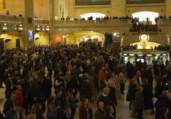 Metro North passengers wait for trains at Grand Central Terminal in New York