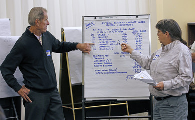 Job seekers take part in a professional placement network focus group exercise at the Workforce Alliance Career Center in West Palm Beach