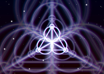 Magic triangle symbol spreads the shiny mystic energy in spiritual space