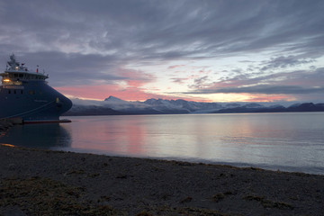 A view shows a beach at the Ny-Aalesund research station on the Arctic archipelago of Svalbard
