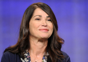 """Actress Kim Delaney from the television show """"Finding a Family"""" takes part in a panel discussion during the Hallmark Channel portion of the Press Tour for the Television Critics Association in Beverly Hills, California"""