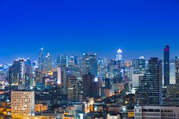 City skyline blue hour at night.