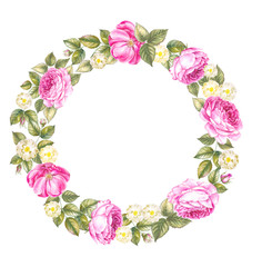 Illustration of red rose frame in the shape of circle. Retro round frame from roses, painted in watercolor style. Isolated over white background.