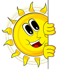 Happy Sun With Banner. Mascot Character. Vector Illustration Retro Cartoon. Isolated On White Background.