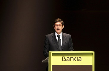 Bankia's Chief Executive Goirigolzarri delivers a speech during the annual shareholder meeting of Spain's largest nationalised bank in Valencia