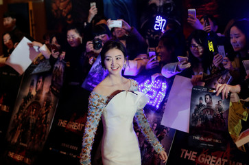 """Chinese actor Jing Tian attends a red carpet event promoting Chinese director Zhang Yimou's latest film """"Great Wall"""" in Beijing"""