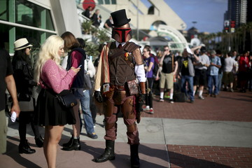 A man dressed as a Storm Trooper stands outside of the Convention Center during the 2015 Comic-Con International in San Diego