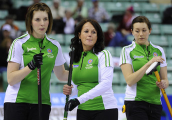 Saskatchewan skip Englot reacts to losing and end with Vey and Slywka during their draw against Northwest Territories/Yukon at the Scotties Tournament of Hearts curling championship in Red Deer