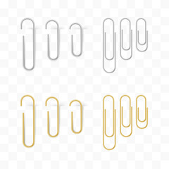 Realistic metal and gold paper clips set. Isolated and attached.