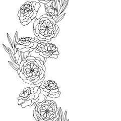 vector contour illustration of decorative flowers line frame
