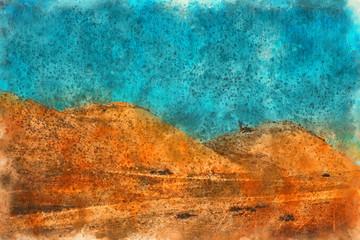 Orange desert and blue sky Landscape, Georgia. Painting watercolor.