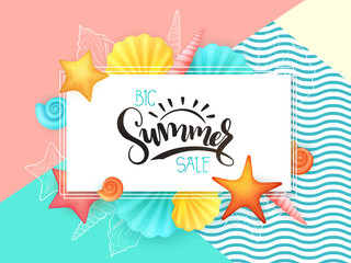 vector hand lettering summer sale text surrounded with detailed flat and doodle seashells