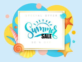 vector hand lettering summer sale text surrounded with detailed flat seashells and circles