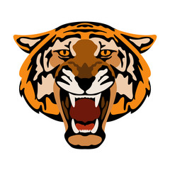 Tiger  head vector illustration style Flat