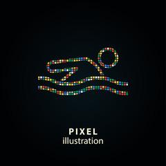 Pool - pixel illustration.