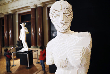 """An art work titled """"Venus de Milo,"""" is seen during """"The Art of the Brick"""" exhibition in Brussels"""