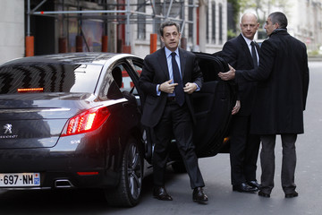 France's President and UMP party candidate for the 2012 French presidential elections Sarkozy arrives to attend interview at the RTL radio station studios in Paris