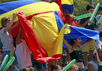 Supporters of Romania cheer during Davis Cup World Group play-off tennis doubles match of Copil and Tecau of Romania against Berdych and Stepanek of Czech Republic in Bucharest