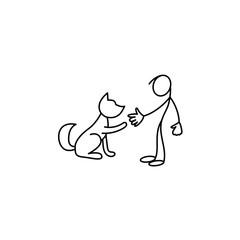Man and pet stick figure vector