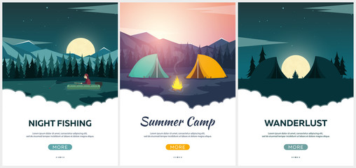 Summer camp. Evening Camp, Pine forest and rocky mountains. Sunset in the mountains. Climbing, Trekking, Hiking, Walking. Campfire. Nature landscape.