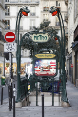 A Metro sign is seen at Reaumur Sebastopol station in Paris